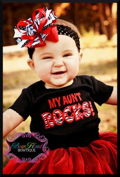 My Aunt Rocks- Girls Zebra shirt or bodysuit and matching hair bow set