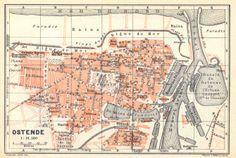 Oostende, kaart 1910.