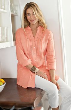 shirts > tissue linen pintucked tunic at J.Jill