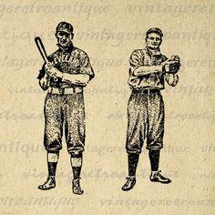 Antique Baseball Players Image Digital Download Vintage Baseball Graphic Sports Printable Clip Art Jpg Png Eps 18x18 HQ 300dpi No.4250 @ vintageretroantique.etsy.com