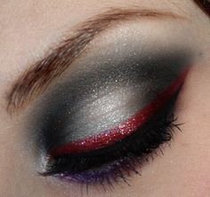 Bows and Curtseys.Mad About Makeup: Volcanic Lightning Storm - A Twist on Smoky Eyes Black Widow Makeup, Vampire Eyes, Cheer Makeup, Red Eyeliner, Red Eyeshadow, Glitter Eyeliner, Gorgeous Makeup, Pretty Makeup, Costume Makeup
