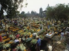 Mexicans Celebrating el Dia de Los Muertos Keep Vigil in Cemeteries, Mexico Photographic Print