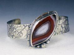 Botswana Agate Cuff, cuff bracelet, boho cuff bracelet, agate cuff bracelet, large cuff by MicheleGradyDesigns on Etsy