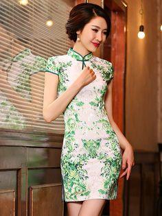 Green Floral Cotton Qipao / Cheongsam Dress
