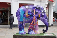 """Around The World"" by Nilesh Mistry - Elephant Parade in London, England 2010;  photo by Hilary_JW, via Flickr"