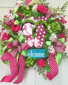 Welcome Flip Flop Summer and Spring Mesh Wreath by WilliamsFloral on Etsy https://www.etsy.com/listing/238429650/welcome-flip-flop-summer-and-spring-mesh