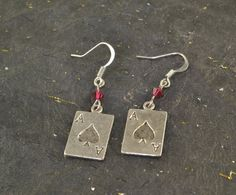 ACE Of SPADES Tibetan Silver Earrings Red Swarovski by ChezChani