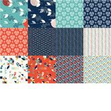 """12 Fat quarters, featuring every print in the Tsuru collection. Each Fat Quarter measures 18"""" x 22""""."""