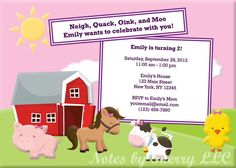 Girls Farm Animals / Petting Zoo Birthday by NotesbySherryLLC, $10.00