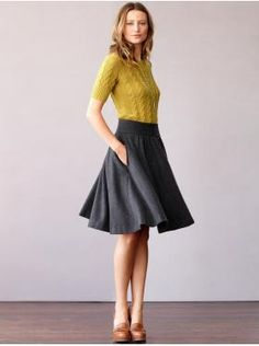 Love the sweater's color and sleeve length as well as the lovely skirt shape.