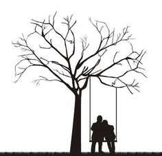 black couple under tree over swing. – Millions of Creative Stock Photos, Vectors, Videos and Music Files For Your Inspiration a Silhouette Pictures, Couple Silhouette, Silhouette Painting, Wall Painting Decor, Wall Art, Moss Decor, Cute Couple Art, Wine Bottle Art, Black Picture