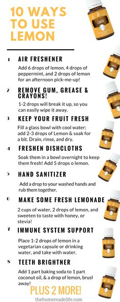 10 uses & benefits for lemon essential oil