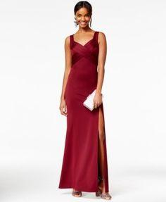 Emerald Sundae Juniors' Crisscross Scuba Gown - Red S High Slit Dress, Bridesmaid Dresses, Prom Dresses, Ball Dresses, Red Cocktail Dress, Evening Cocktail, V Neck Wedding Dress, Luxury Dress, Review Dresses