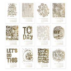 Golden Year *Gold Foil Letterpress* 2015 Calendar at @studio_calico