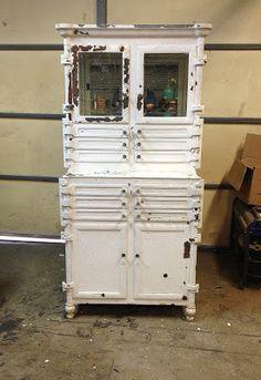 Outstanding vintage industrial medical dental steel cabinet ...