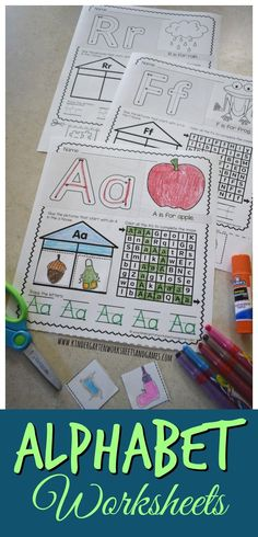 FREE Alphabet Worksheets - these super cute free printable worksheets for kids are perfect for helping preschool, prek, kindergarten, and first grade to make their letters with color /cut / paste to strengthen fine motor skills, alphabet lazes, simple alphabet sentence and identify beginning word sound too.