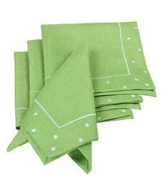 Look what I found on #zulily! Green Polka Dot Embroidered Napkins - Set of Four #zulilyfinds