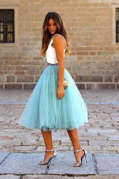 Sea Foam Green Midi Tulle Tutu Skirt