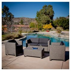 4-Piece Outdoor Wicker Resin Patio Furniture Seating Set with Cushions - Quality House