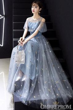 Prom Dress 2020 Constellation Dress Tulle A Line Jewel Neck Short Sleeves Floor Length Embroidered Social Party Dresses Grey Prom Dress, Sparkly Prom Dresses, Prom Dresses For Teens, V Neck Prom Dresses, Prom Outfits, Unique Prom Dresses, Evening Dresses, Homecoming Dresses, Formal Dance Dresses