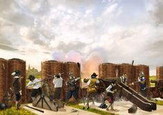 Spanish Artillery sieging a french city during the Thirty Years War, by Sandra Delgado.