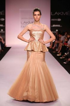 Jyotsna Tiwari Lakme Fashion Week Summer 2014 metallic gold beige flared Indian wedding dress. More here: http://www.indianweddingsite.com/jyotsna-tiwari-lakme-fashion-week-summer-resort-2014/