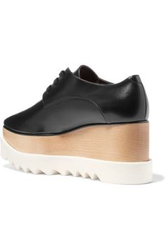 Stella McCartney - Elyse Faux Glossed-leather Platform Brogues - Black