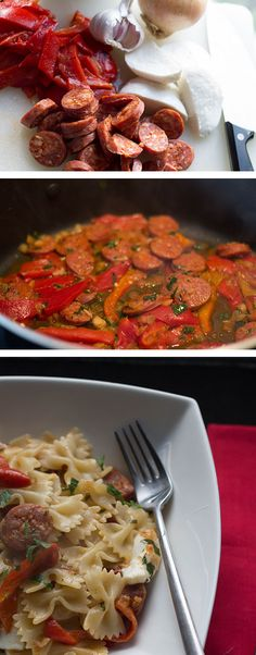 15 MINUTE CHORIZO & ROASTED RED PEPPER PASTA - I think I'll try this with a turkey sausage instead of chorizo