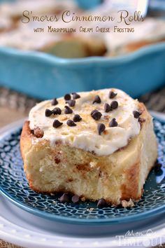 S'mores Cinnamon Rolls with Marshmallow Cream Cheese Frosting
