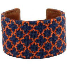 Navy and Orange Quatrafoil Needlepoint Cuff Bracelet by York Designs