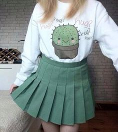 Kawaii fashion and styles  sweater cactus tumblr cute green white kawaii kawaiigrunge