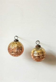 "3"" Round Mercury Glass Gold Ombre Ornament , Holiday Decor - Vintage Market And Design, Vintage Market And Design"