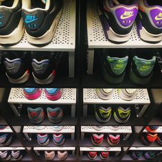 Awesome shoe display made with an Ikea Kallax shelf system and a little ingenuity. Expedit Bookcase, Ikea Expedit, Bookcase Storage, Shoe Storage, Storage Ideas, Kallax Shelf, Smart Storage, Garage Storage, Storage Solutions