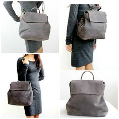 Grey convertible leather backpack Grey leather rucksack