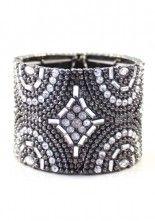 Punk Rhinestone Elastic Bangle Bracelet
