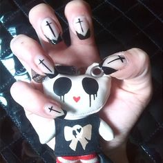 Satanic Nails   #naturalnails #crossnails #nails #lovenails #blacknails #invertedcross #ibstamood #nailart #crazynails #doityourself #DIY #instanails #nailselfie #selfie #metalgirls #instafollow #sexynails #tbt #death #satanicnails #tagsforlikes #tags #followme #instalike #goth #gothnails #art #nailsoninstagram #nailpolish #instasize by zombirella_carry_on