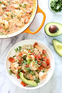 Garlic Shrimp in Coconut Milk, Tomatoes and Cilantro is a quick stew cooked in a light, tomato coconut broth with a hint of lime and cilantro. Simple enough to make for a weekday dinner yet sophisticated enough to serve to company. Serve with a little brown basmati rice to soak up the delicious broth.