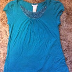 Beaded blue top Blue top too small for me worn once or twice Tops Tees - Short Sleeve
