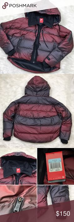 """[Nike] Uptown 550 Down Cocoon Jacket Crimson Ombre Warm Cocoon style Down jacket by Nike. Grey duck down insulation and soft fleece panels to keep you warm and comfortable. Adjustable hem and multi-panel hood to personalize fit and keep heat in. Fleece front and neck panels zip up to chin. Ribbed cuffs. Side zip pockets. Cool crimson Ombre color. Style 683926-696.  🔹Fabric: Body/Lining 100% Polyester Panels 77% Cotton 23% Polyester Fill Minimum 75% Grey Duck Down 🔹Pit to Pit: 26"""" 🔹Length…"""