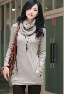 Wholesale Free Scarf Thicken Long Sleeve Knit Elegance Blouses