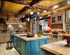 Loving the colors and textures in this kitchen!