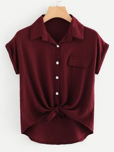 Casual Pocket and Button and Knot Plain Top Regular Fit Collar Short Sleeve Roll Up Sleeve Burgundy Rolled Cuff Knotted Hem Shirt Teen Fashion Outfits, Mode Outfits, Plus Size Kleidung, Summer Blouses, Roll Up Sleeves, Plus Size Blouses, Types Of Sleeves, Plus Size Outfits, How To Wear