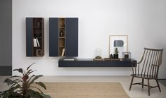 Vision combination with boxes in blue, oak and walnut