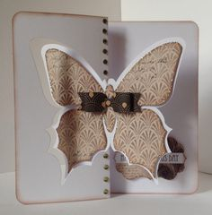 Craftwork Cards Butterfly twister card decorated with Vogue.  Card designed by Julie Hickey