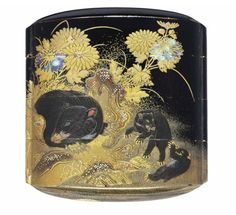 A Three-Case Inro Edo period (19th century) Decorated in gold, silver and red hiramaki-e, takamaki-e, kirikane and nashiji and inlaid in mother-of-pearl on a black lacquer ground, with a family of wild boar amongst chrysanthemums and a stream, dense nashiji interiors, fundame rims