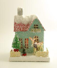 Mica Putz House Bottle Brush Trees Christmas Village | eBay