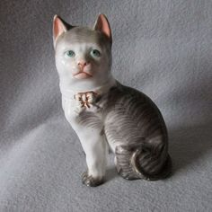 19thC Victorian Figurine of a Striped Cat German or English