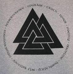Valknut Asatru Noble Virtues Viking Rune Heathen T-Shirt BL - - Viking Tattoo Symbol, Norse Tattoo, Viking Tattoos, Yggdrasil Tattoo, Armor Tattoo, Warrior Tattoos, Inca Tattoo, Samoan Tattoo, Polynesian Tattoos