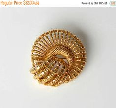 ON SALE Vintage Coro Brooch Pin Round Domed Gold Tone