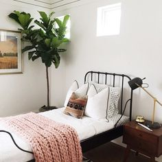 Love this bright little bedroom with the huge plant in the corner. Makes the space so lively.   d e c o r l o v e
